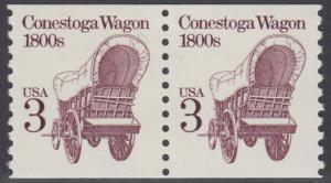 USA Michel 1971 / Scott 2252 postfrisch horiz.PAAR (coil) - Fahrzeuge: Conestoga-Wagen