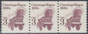 USA Michel 1971 / Scott 2252 postfrisch horiz.STRIP(3) (coils) - Fahrzeuge: Conestoga-Wagen