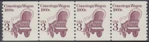 USA Michel 1971 / Scott 2252 postfrisch horiz.STRIP(4) (coils) - Fahrzeuge: Conestoga-Wagen