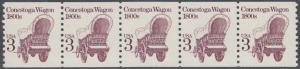 USA Michel 1971 / Scott 2252 postfrisch horiz.STRIP(5) (coils) - Fahrzeuge: Conestoga-Wagen