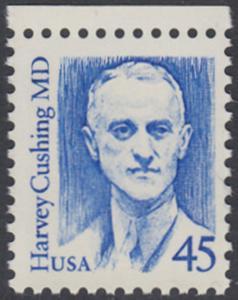 USA Michel 1984 / Scott 2188 postfrisch EINZELMARKE RAND oben - Amerikanische Persönlichkeiten: Harvey Cushing (1869-1939), Neurochirurg