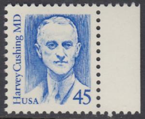 USA Michel 1984 / Scott 2188 postfrisch EINZELMARKE RAND rechts - Amerikanische Persönlichkeiten: Harvey Cushing (1869-1939), Neurochirurg