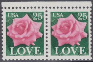 USA Michel 1988 / Scott 2378 postfrisch horiz.PAAR RÄNDER oben - Grußmarke: Rose