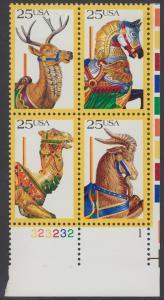 USA Michel 2010-2013 / Scott 2393 postfrisch PLATEBLOCK ECKRAND unten rechts m/ Platten-# 1 (a) - Karusselltiere