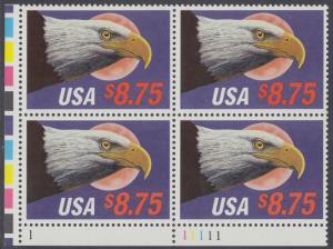 USA Michel 2014 / Scott 2394 postfrisch PLATEBLOCK ECKRAND unten links m/ Platten-# 1 - Eilpostmarke: Weißkopfseeadler