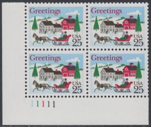 USA Michel 2015 / Scott 2400 postfrisch PLATEBLOCK ECKRAND unten links m/ Platten-# 11111 - Weihnachten: Winterlandschaft