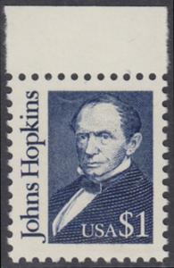 USA Michel 2042 / Scott 2194 postfrisch EINZELMARKE RAND oben - Amerikanische Persönlichkeiten: Johns Hopkins (1795-1873), Philanthrop