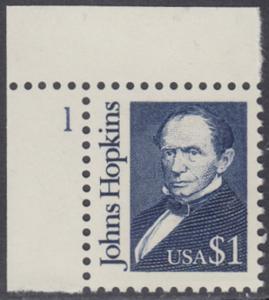 USA Michel 2042 / Scott 2194 postfrisch EINZELMARKE RAND oben links m/ Ülatten-# 1 - Amerikanische Persönlichkeiten: Johns Hopkins (1795-1873), Philanthrop