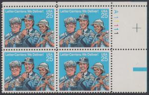 USA Michel 2048 / Scott 2420 postfrisch PLATEBLOCK ECKRAND oben rechts m/ Platten-# A11111 - Briefträger