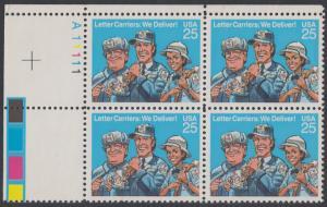 USA Michel 2048 / Scott 2420 postfrisch PLATEBLOCK ECKRAND oben links m/ Platten-# A11111 (b) - Briefträger
