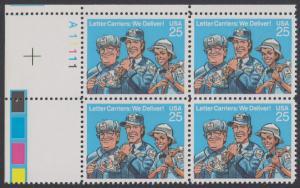 USA Michel 2048 / Scott 2420 postfrisch PLATEBLOCK ECKRAND oben links m/ Platten-# A11111 (c) - Briefträger