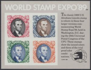 USA Michel 2060-2063 / Scott 2433 postfrisch SATZ(4) BLOCKAUSGABE(4) (Mini-Bogen) - Internationale Briefmarkenausstellung WORLD STAMP EXPO '89, Washington