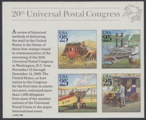 USA Michel 2064-2067 / Scott 2438 postfrisch BLOCKAUSGABE(4) (aus Mini-Bogen) - 20. Kongress des Weltpostvereins (UPU) (I): Historische Postbeförderung