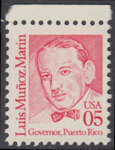 USA Michel 2077 / Scott 2173 postfrisch EINZELMARKE RAND oben - Amerikanische Persönlichkeiten: Luis Muñoz Marin (1898-1980), 1. Gouverneur von Puerto Rico