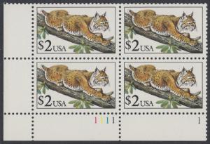 USA Michel 2092 / Scott 2482 postfrisch PLATEBLOCK ECKRAND unten links m/ Platten-# 1111 - Tiere: Rotluchs