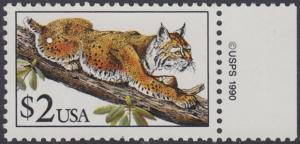 USA Michel 2092 / Scott 2482 postfrisch EINZELMARKE RAND rechts m/ copyright symbol - Tiere: Rotluchs
