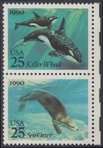 USA Michel 2107+2109 / Scott 2508+2510 postfrisch vert.PAAR RÄNDER rechts - Meeressäugetiere