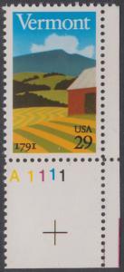 USA Michel 2121 / Scott 2533 postfrisch EINZELMARKE ECKRAND unten rechts m/ Platten-# A1111 - 200 Jahre Staat Vermont: Landschaft in Vermont