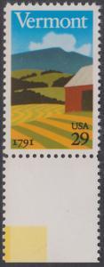 USA Michel 2121 / Scott 2533 postfrisch EINZELMARKE RAND unten - 200 Jahre Staat Vermont: Landschaft in Vermont