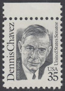 USA Michel 2124 / Scott 2186 postfrisch EINZELMARKE RAND oben - Amerikanische Persönlichkeiten: Dennis Chavez (1888-1962), Senator