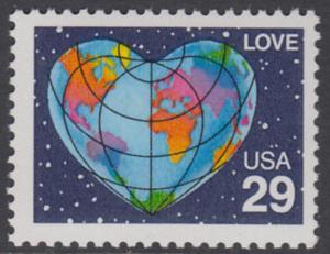 USA Michel 2132 / Scott 2535 postfrisch EINZELMARKE - Grußmarke: Herzförmige Erdkarte