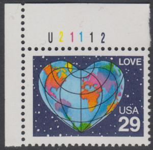 USA Michel 2132 / Scott 2535 postfrisch EINZELMARKE ECKRAND oben links m/ Platten-# U2112 - Grußmarke: Herzförmige Erdkarte