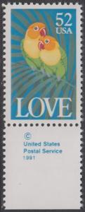 USA Michel 2133 / Scott 2537 postfrisch EINZELMARKE RAND unten m/ copyright symbol - Grußmarke: Pfirsichköpfchen