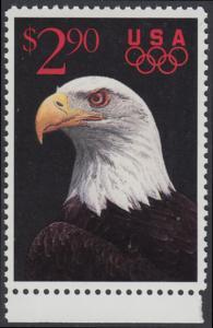 USA Michel 2154 / Scott 2540 postfrisch EINZELMARKE RAND unten - Schnellpostmarke: Weißkopfseeadler; olympische Ringe