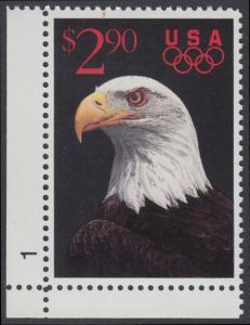 USA Michel 2154 / Scott 2540 postfrisch EINZELMARKE ECKRAND unten links m/ Platten-# 1 - Schnellpostmarke: Weißkopfseeadler; olympische Ringe