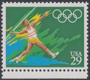 USA Michel 2158 / Scott 2556 postfrisch EINZELMARKE RAND unten - Olympische Sommerspiele 1992, Barcelona