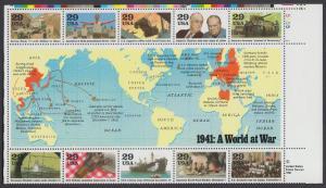 USA Michel 2169-2178 / Scott 2559 postfrisch BLOCKAUSGABE (Block 24) ECKRAND oben rechts (a1)  - Geschichte des Zweiten Weltkrieges (I): Das Jahr 1941