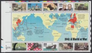 USA Michel 2169-2178 / Scott 2559 postfrisch BLOCKAUSGABE (Block 24) ECKRAND oben links - Geschichte des Zweiten Weltkrieges (I): Das Jahr 1941