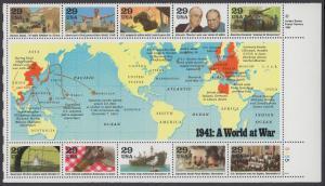 USA Michel 2169-2178 / Scott 2559 postfrisch BLOCKAUSGABE (Block 24) ECKRAND unten rechts - Geschichte des Zweiten Weltkrieges (I): Das Jahr 1941