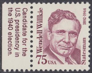 USA Michel 2210 / Scott 2192 postfrisch EINZELMARKE RAND links (a2) - Amerikanische Persönlichkeiten: Wendell Willkie (1892-1944), Präsidentschaftskandidat 1940
