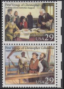 USA Michel 2214+2216 / Scott 2620+2622 postfrisch vert.PAAR RÄNDER rechts - 500. Jahrestag der Entdeckung von Amerika