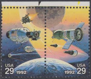 USA Michel 2237+2238 / Scott 2633+2634 postfrisch horiz.PAAR RÄNDER oben (a2) - Amerikanische und sowjetische Weltraumunternehmungen