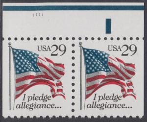 USA Michel 2314D / Scott 2593 postfrisch horiz.PAAR RÄNDER oben m/ Platten-# (rechts & links ungezähnt) - Flagge, Textanfang des Treuegelöbnisses