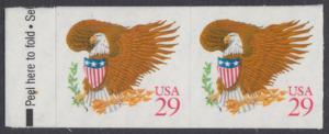 USA Michel 2319 / Scott 2597 postfrisch horiz.PAAR - Wappenadler; Adler mit Wappenschild (Cent in rot)