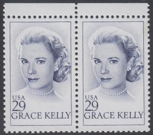 USA Michel 2346 / Scott 2749 postfrisch horiz.PAAR RÄNDER oben - Grace Kelly (1929-1982), Filmschauspielerin; ab 1956 Fürstin von Monaco