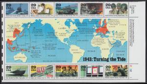 USA Michel 2365-2374 / Scott 2765 postfrisch BOGEN(10) Eckrand unten rechts - Blockausgabe: Die Geschichte des Zweiten Weltkrieges (III): Das Jahr 1943