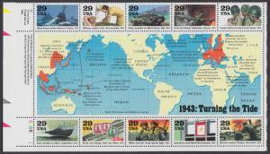 USA Michel 2365-2374 / Scott 2765 postfrisch BOGEN(10) Eckrand unten links - Blockausgabe: Die Geschichte des Zweiten Weltkrieges (III): Das Jahr 1943