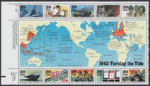 USA Michel 2365-2374 / Scott 2765 postfrisch BOGEN(10) Eckrand oben links (b) - Blockausgabe: Die Geschichte des Zweiten Weltkrieges (III): Das Jahr 1943