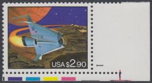 USA Michel 2375 / Scott 2543 postfrisch EINZELMARKE ECKRAND unten rechts m/ Platten-# 1 - Schnellpostmarke: Raumfahrzeug