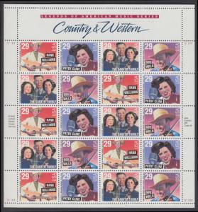 USA Michel 2376, 2397-2399 / Scott 2774 postfrisch BOGEN(20) - Amerikanische Musikgeschichte: Country- und Westernsänger