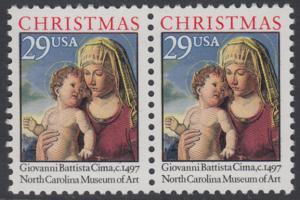 USA Michel 2405A / Scott 2789 postfrisch horiz.PAAR - Weihnachten: Madonna mit Kind in einer Landschaft