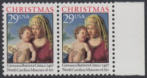 USA Michel 2405A / Scott 2789 postfrisch horiz.PAAR RAND rechts - Weihnachten: Madonna mit Kind in einer Landschaft