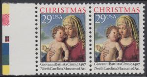 USA Michel 2405A / Scott 2789 postfrisch horiz.PAAR RAND links - Weihnachten: Madonna mit Kind in einer Landschaft