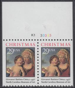 USA Michel 2405D / Scott 2790 postfrisch horiz.PAAR RÄNDER oben m/ Platten-# (rechts & links ungezähnt) - Weihnachten: Madonna mit Kind in einer Landschaft