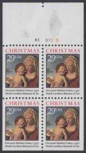 USA Michel 2405D / Scott 2790a postfrisch Markenheftchenblatt(5) RAND oben m/ Platten-# - Weihnachten: Madonna mit Kind in einer Landschaft
