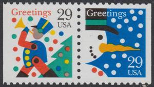 USA Michel 2410-2411 / Scott 2795-2796 postfrisch horiz.PAAR - Weihnachten: Schneemann/Spielzeugsoldat